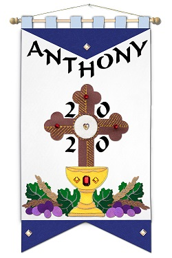 ~ DELUXE ~ - First Communion Banner Kit - 12 in. x 18 in. - <i>Blue Cross - Black Letters</i>