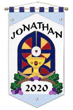 ~ DELUXE ~ - First Communion Banner Kit - 12 in. x 18 in. - <i>Blue Gates - Black Letters</i>