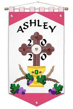 ~ DELUXE ~ - First Communion Banner Kit - 12 in. x 18 in. - <i>Pink Cross - Black Letters</i>