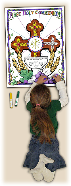 Catholic Coloring Poster - Cross of Redemption - Class Pack