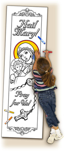 Catholic Coloring Posters - Deluxe - Hail Mary