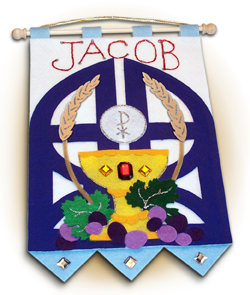 First Communion Banner Kit - 9 in. x 12 in. - <i>Gates of Heaven - Royal Blue</i>