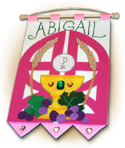First Communion Banner Kit - 9 in. x 12 in. - <i>Gates of Heaven - Rose</i>