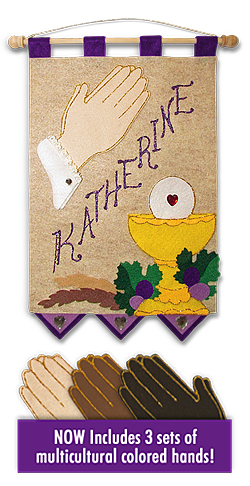 First Communion Banner Kit - 9 in. x 12 in. - <i>Praying Hands-(<span style = 'color:#663399'>Royal Purple accents</span>)</i>