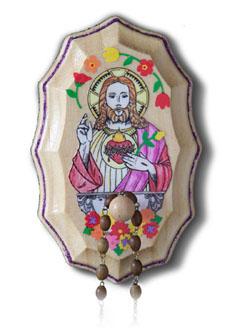 Wooden Rosary Holder Kit - Sacred Heart of Jesus